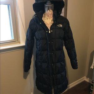 North face knee length 600 down coat